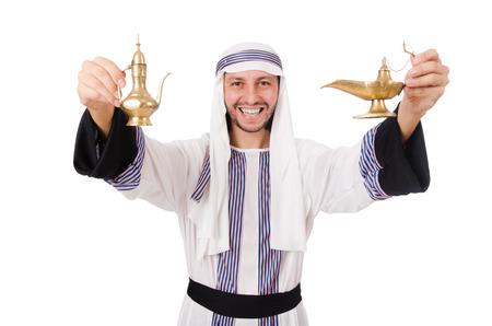 qameez: Arab man with lamp isolated on white