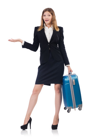 Woman preparing for vacation with suitcase on white Stock Photo - 24577012