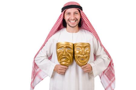 hypocrisy: Arab in hypocrisy concept on white Stock Photo