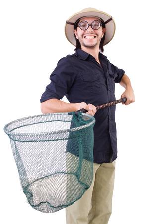 funny guy: Type dr�le avec capture net sur blanc