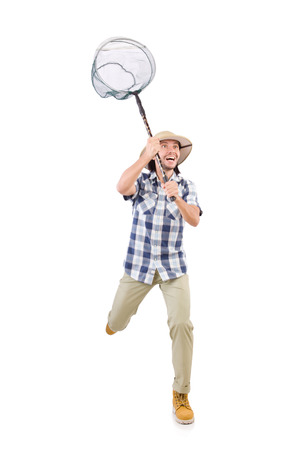 funny guy: Funny guy with catching net on white Banque d'images