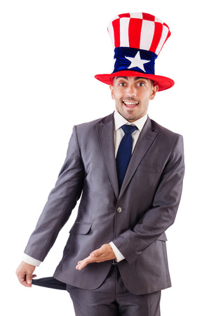 Man with american hat asking for money Stock Photo - 26638928