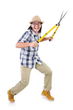 garden shears: Individuo divertido con tijeras de jard�n en blanco