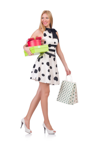 Young woman with christmas shopping on white Stock Photo - 26967931