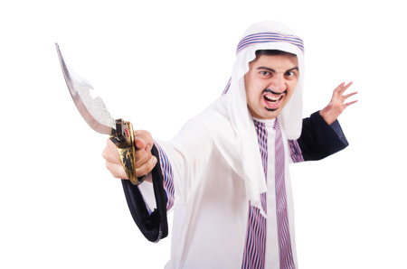 Arab man with knife isolated on white photo