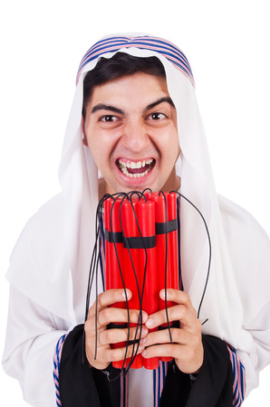 Arab man with red sticks of dynamite photo