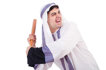 thoub: Aggressive arab man with baseball bat on white