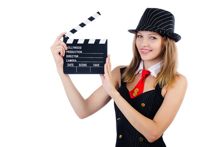 Woman gangster with movie board on white photo