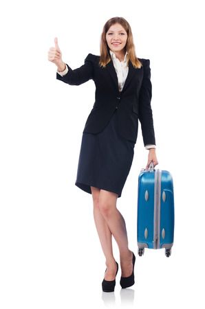 Woman preparing for vacation with suitcase on white Stock Photo - 26968104