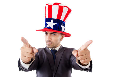 Man with american hat isolated on white Stock Photo - 27277753