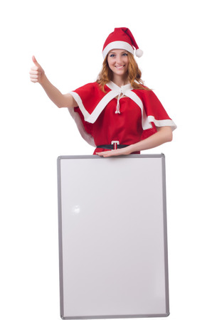 Young woman in red santa costume with blank board photo