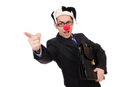 Clown businessman isolated on white Stock Photo - 27196459