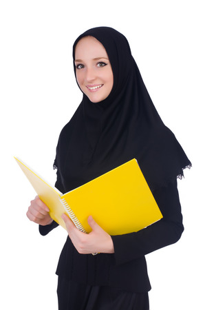 Young muslim student with books on white Stock Photo - 26968144