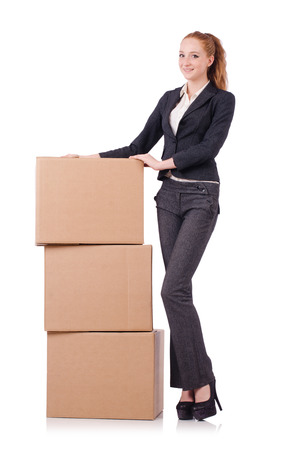 Woman businesswoman with boxes on white photo