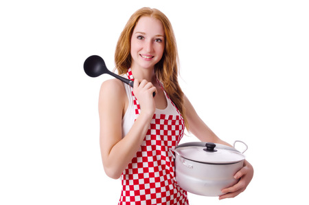 Young woman cook isolated on white Stock Photo - 26639113