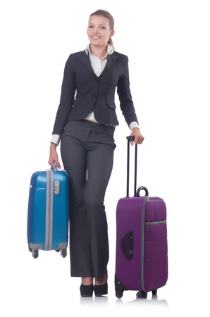 Businesswoman travelling isolated on white Stock Photo - 27277788
