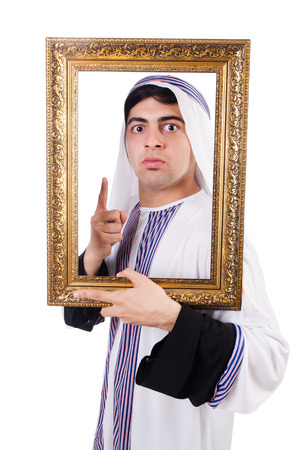 qameez: Arab with picture frame on white