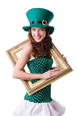 Saint Patrick holiday concept with woman and frame photo