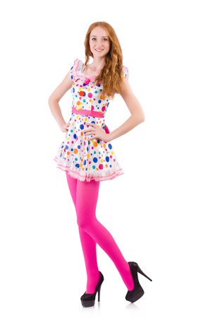Young model with pink stockings on white photo