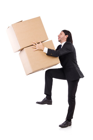 Funny man with boxes on white photo