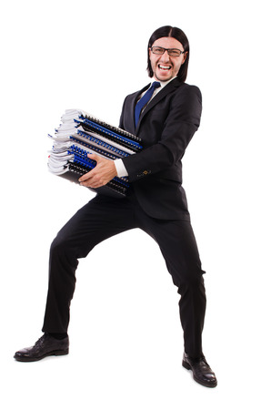 Funny man with lots of papers on white Stock Photo - 26661138