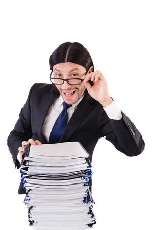 Funny man with lots of papers on white Stock Photo - 26661139