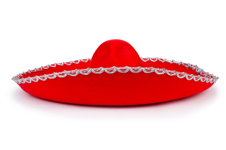 Red mexixan sombrero hat isolated on white photo