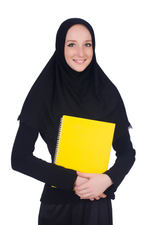 Young muslim student with books on white Stock Photo - 26660985