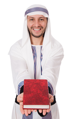 thoub: Arab man with book isolated on white Stock Photo