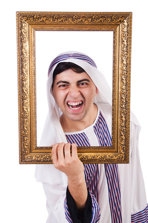 Arab with picture frame on white Stock Photo - 26926574