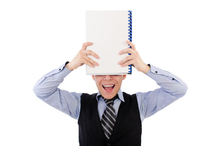 Funny man with lots of folders on white Stock Photo - 26717912