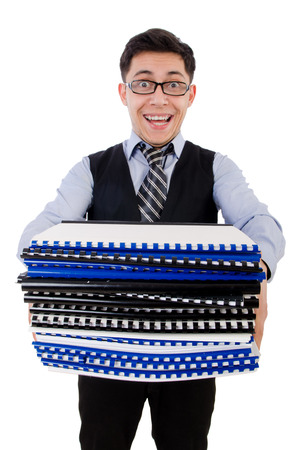 Funny man with lots of folders on white Stock Photo - 26800905