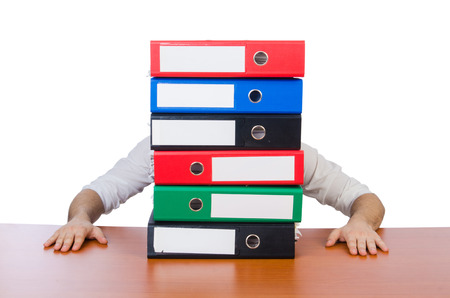 Funny man with lots of folders on white Stock Photo - 26718196