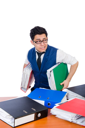 Funny man with lots of folders on white Stock Photo - 26801716