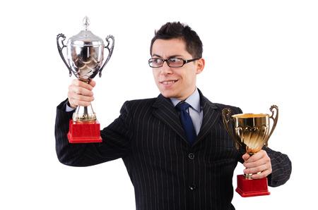 funny guy: Funny guy recevoir un prix d�cern� sur blanc Banque d'images
