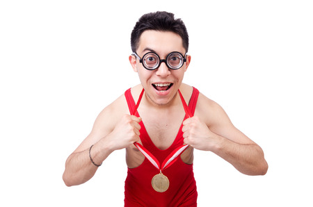 Funny wrestler with winners gold medal photo