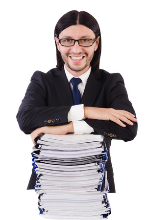 Funny man with lots of papers on white Stock Photo - 26801478