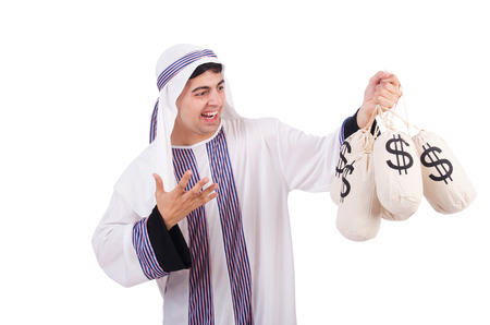 Arab man with money sacks isolated on white Stock Photo - 26968922