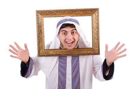 Arab with picture frame on white Stock Photo - 26968927