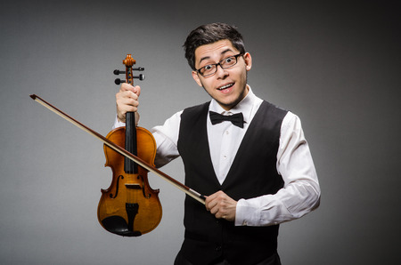 violin player: Funny violin player with fiddle Stock Photo