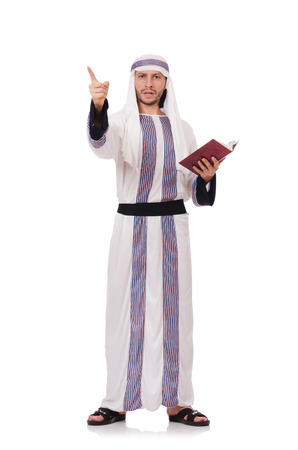 Arab man with book isolated on white photo