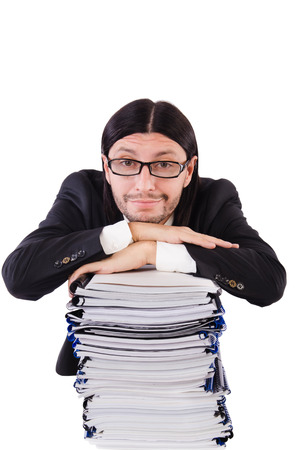 Funny man with lots of papers on white photo