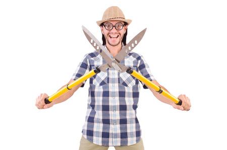 funny guy: Dr�le de type avec des cisailles de jardin sur blanc