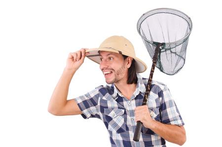 funny guy: Type dr�le avec la capture nette sur blanc Banque d'images