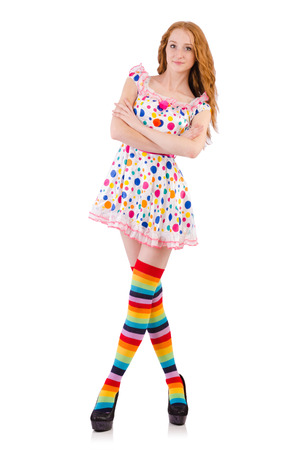 Young girl with colourful clothing on white photo