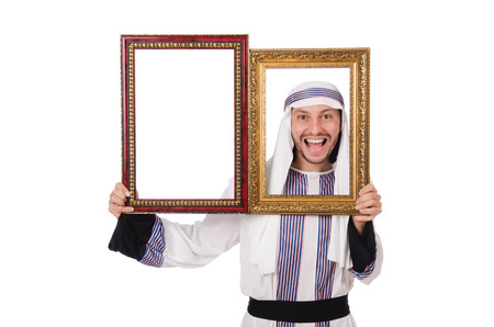 qameez: Young arab with picture frame on white