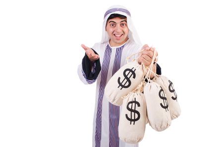 Arab man with money sacks isolated on white Stock Photo - 27228739