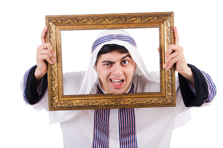 Arab with picture frame on white Stock Photo - 27228740