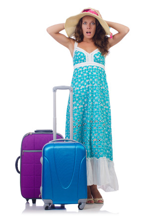 Woman going to summer vacation isolated on white Stock Photo - 27277819