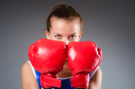 Woman boxer in uniform with US symbols Stock Photo - 27277916
